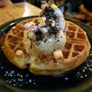 Waffles With Ear Grey And Taro Ice Cream