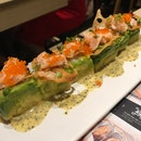 Salmon Avocado Roll With Passion Fruit Sauce