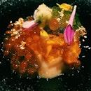 Uni (sea urchin) and kuruma ebi (prawn) with egg custard.