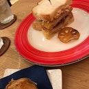 double decker tonkatsu $7.40, apple pie $3.40