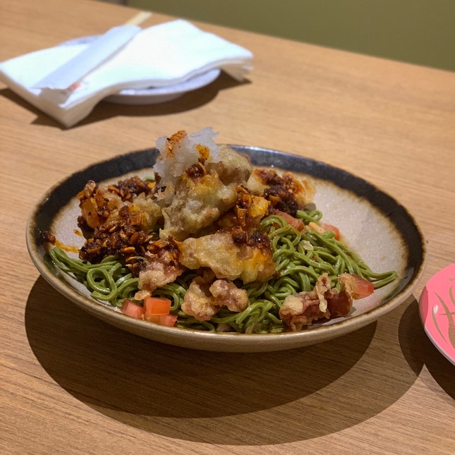 Spicy Kurobuta Tempura Oroshi Chasoba ($14.90++)