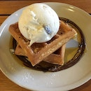Waffles and ice cream an indulgent treat