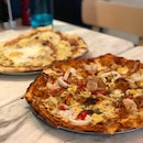 Carbonara Pizza ($27) & Laksa Pizza ($27)