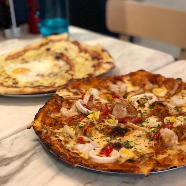 Carbonara Pizza ($27) & Laksa Pizza ($27)