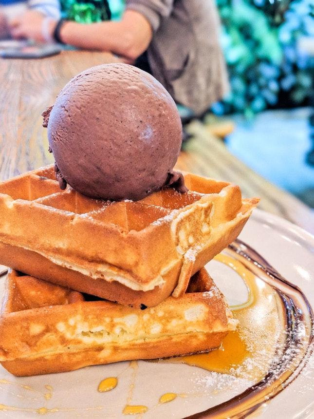 Dark Ferrero Rocher Ice Cream with Waffles