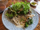 Grilled Mediterranean Seabass with Kailan and Lemon Caper Sauce ($26)