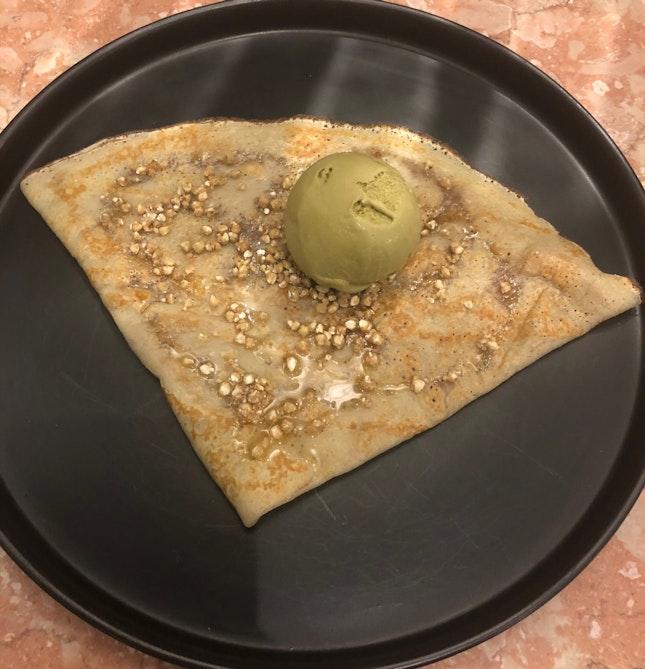 Artisanal Manuka Honey, Roasted Buckwheat Seeds, Hojicha Sea Salt Ice Cream $10