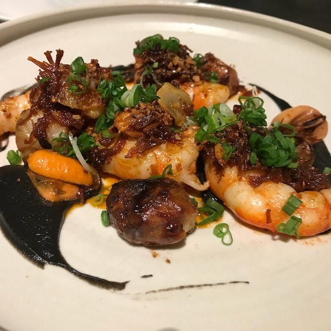 King Prawns, Jerusalem Artichoke, XO Sauce, Mussels