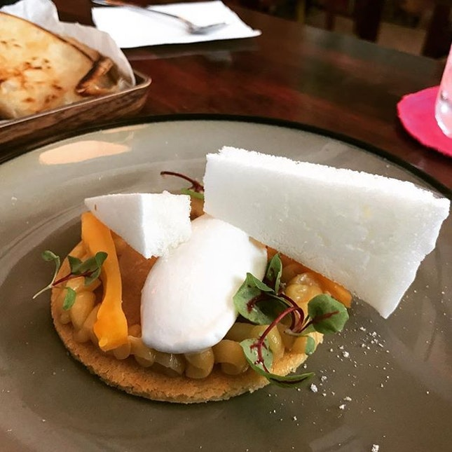 Lunch / 20 Aug 2018: Jackfruit Tart with Coconut Sorbet.