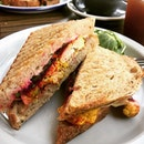 Roasted cauliflower sourdough sandwich with beetroot adding the pop of color #burpple