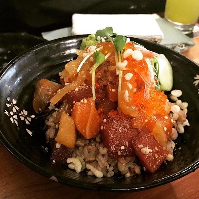 Chirashi bowl with brown rice.