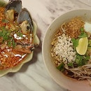 Tom yum two ways - seafood soup and egg noodle style