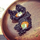 Starting dinner off at Saveur Art with some canapés of squid ink crackers and anchovies #burpple #saveurart