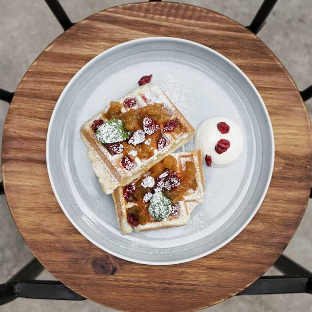 Apples and Cranberries Waffles [$14].