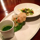 duet of asparagus, beef tendon and pickled quail egg looks really interesting...