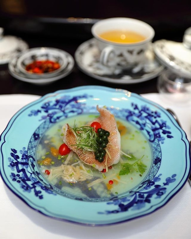 [Summer Pavilion] - The sourness of the broth elevated the enjoyment of the perfectly cooked Steamed Dong Xing Grouper Fillet with Green Pepper and Plum.