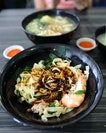 [Poon Nah City Handmade Noodle] - The Prawn Ban Mian Dry ($3.50) comes with prawn, minced pork, wolfberry leaves and ikan bilis.