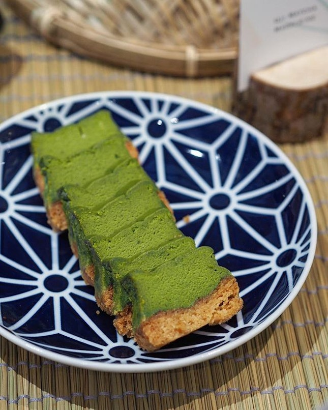 [Lewin Terrace] - Baked Matcha Cheesecake with a soft matcha cake centre and a crumbly buttery crust.