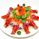 [Park Hotel Clarke Quay] - Auspicious Abundance Yu Sheng which is a bountiful feast of purple and white cabbage, green and white radish, all basked in a crowning glory of fleshly-flown in yabbies and parma ham, finished off in a homemade plum sauce.