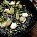[Tapas Club] - Arroz Negro ($26) - squid ink paella with cuttlefish and clams, served with garlic aioli for a creamier texture.