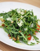 [The Marmalade Pantry] - Grilled Pear and Argula Salad ($22).