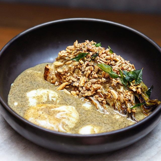 [Curious Palette] - The Sugarloaf Cabbage with Seaweed Butter ($12.90) come in a bundle of juicy, roasted cabbages and a generous sprinkling of toasted nuts, seeds, buckwheat and crispy curry leaves.