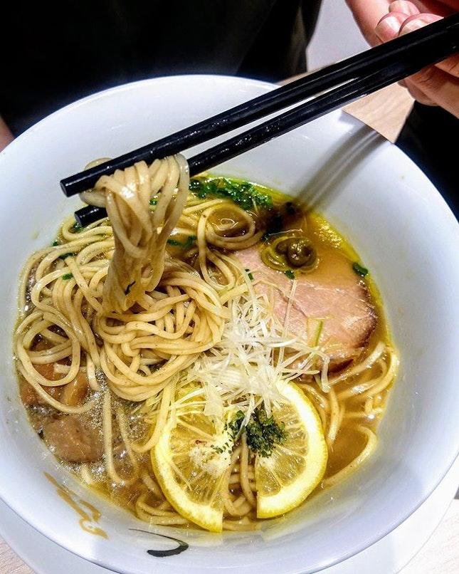 [麺 House Yamamoto] - Porcini Shoyu Ramen ($14.80) uses lemon slices as well, which brightens the broth with a soft citrusy note.