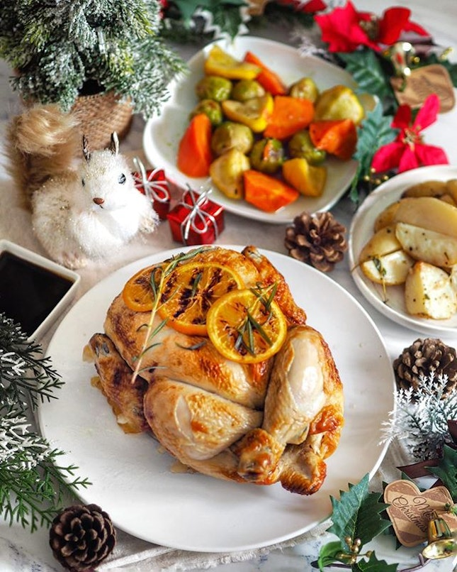 [The Carvery] - @thecarverysg at Park Hotel Alexandra rolls outs their crowd-favourite Spit-Roasted Chicken this festive season, with nostalgia-evoking flavours of sweet orange and aged balsamic glaze.