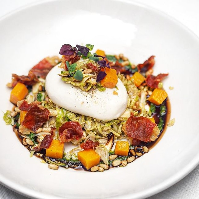 [Morton's The Steakhouse] - Burrata, Brussels Sprouts & Roasted Butternut Squash Salad ($28++).