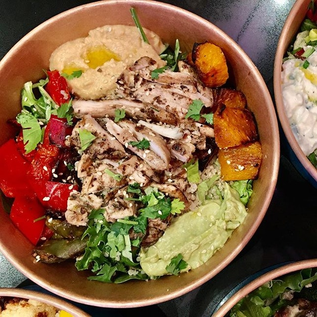 [Supergreek] - Grilled Chicken Steak ($9.90) salad gets a lot more exciting when you have a dollop of creamy Greek yoghurt avocado sauce and zingy hummus to go with.