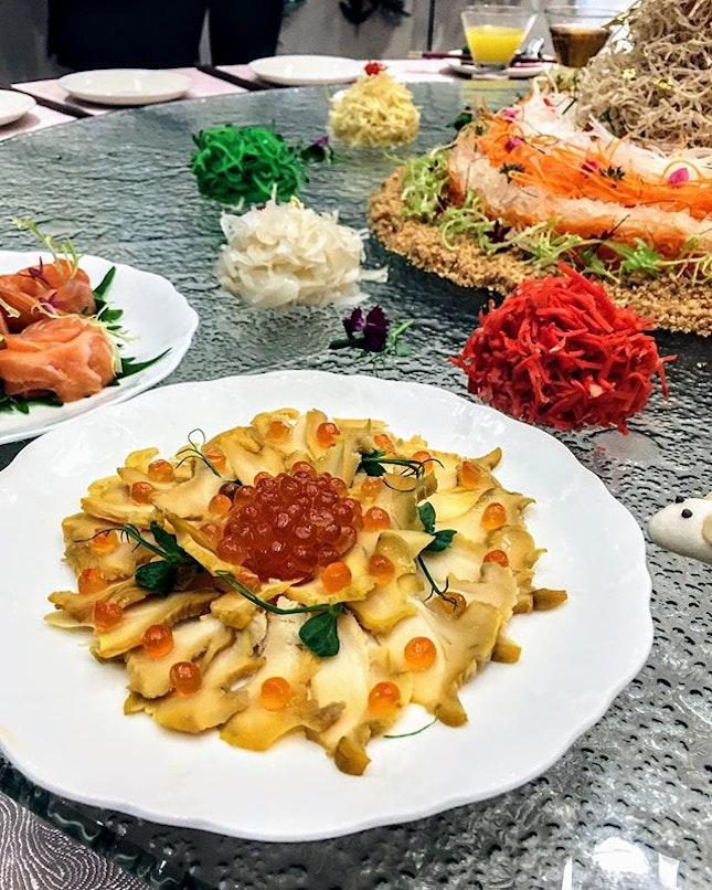 [Li Bai] - Coral Clam Yu Sheng Platter ($98/$188) features coral clam atop an array of ingredients such as yam, sweet potato, white radish, carrot, pickled ginger and pomelo.