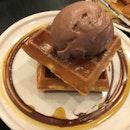 Waffle with Orange Milk Chocolate Ice Cream