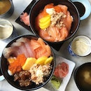 $15 salmon bowl, $16 kaisen don.