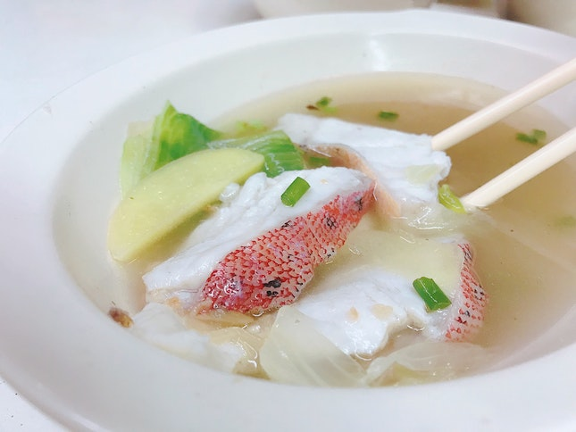 Fresh Grouper Slices soup ($10)