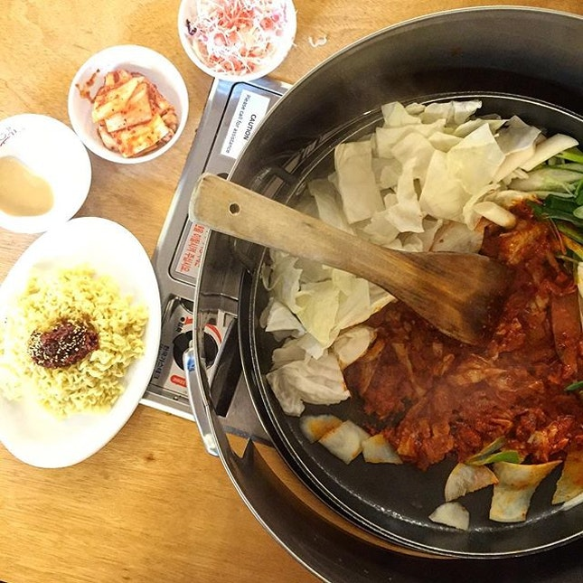 Yoogane's chicken galbi at double the price but half the service here in Singapore.