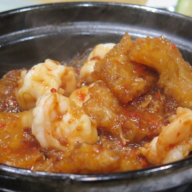 Fish Maw and Prawns with Glass Noodles in Homemade XO Sauce ($18.80)