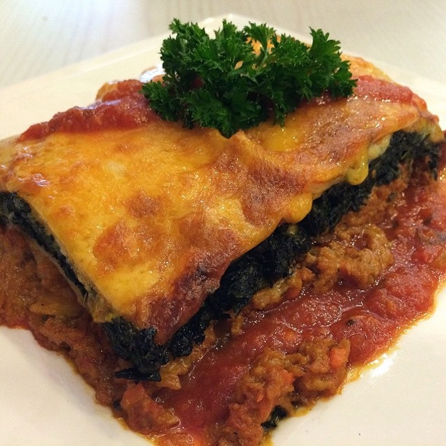 Lasagna With Soya Mince And Spinach