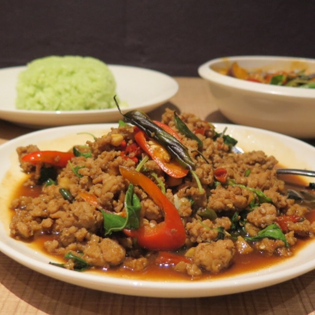 Stir Fried Minced Chicken or Pork with Basil Leaves $11.90
