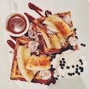 Being naughty #food #desserts #chocolate #waffles #banana 🍌🍫#YOLO