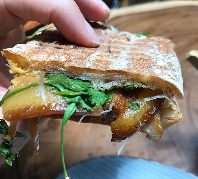 This Braised Pork Grilled Cheese Panini is so delicious.