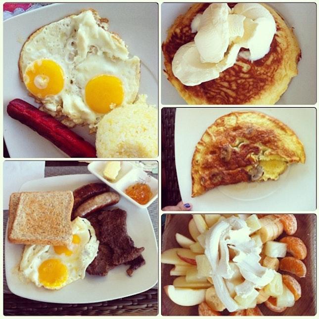 Breakfast Eggs Hotdog Pancake Fresh Fruits Mushroom Beef