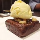 brownie, vanilla ice cream ($9)