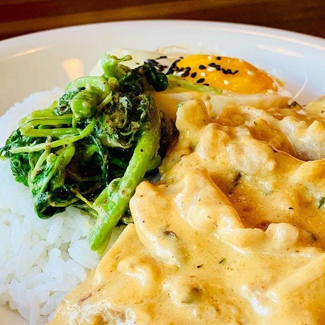 Creamy mushroom and pork rice at The Chub's Grill.