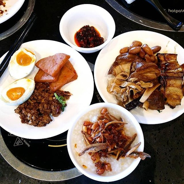 Porridge Buffet, so satisfying as I can have as many salted egg as I want!