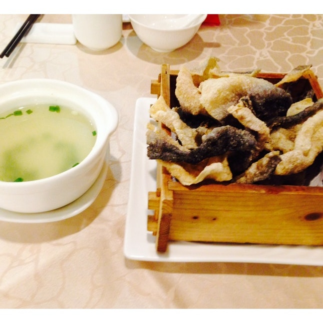 Deep Fried Fish Skin With Superior Stock