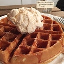 Waffle with two of my fav: salted caramel sauce and earl grey ice cream!
