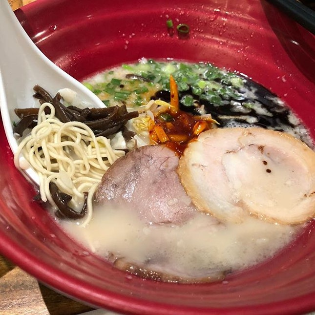 Having $3.30++ #ippudo33rd anniversary deal, #AkamaruShinaji #ramen as my early #lunch #burpple  Happy 33rd anniversary #ippudosg #ippudo