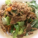 Stir Fried Noodles with Grilled Pork and Salad