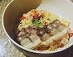 Spaghetti Aglio Olio with Crispy Pork Belly ($18)