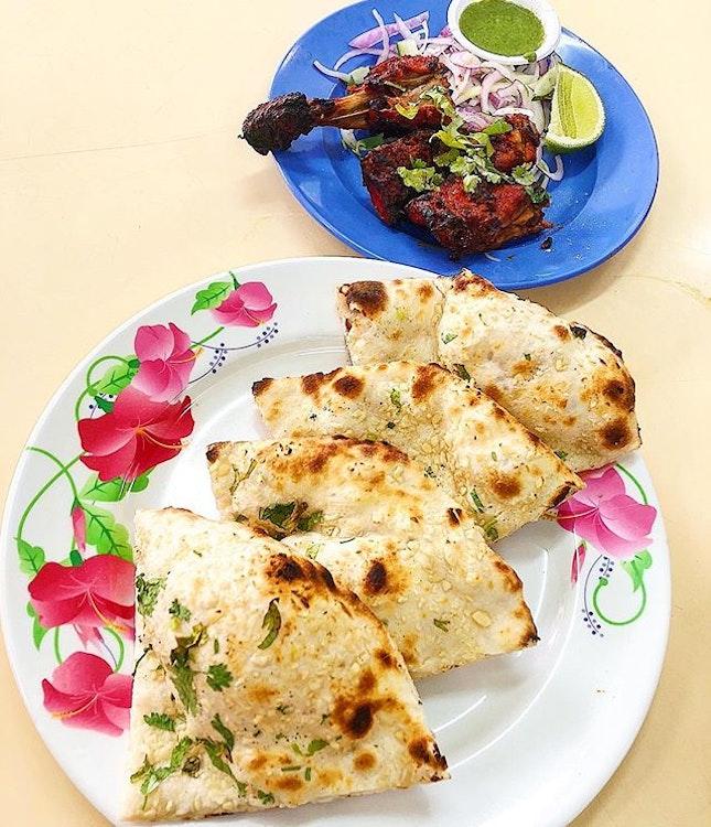 Garlic Naan($2), Tandoori Chicken ($4.50).